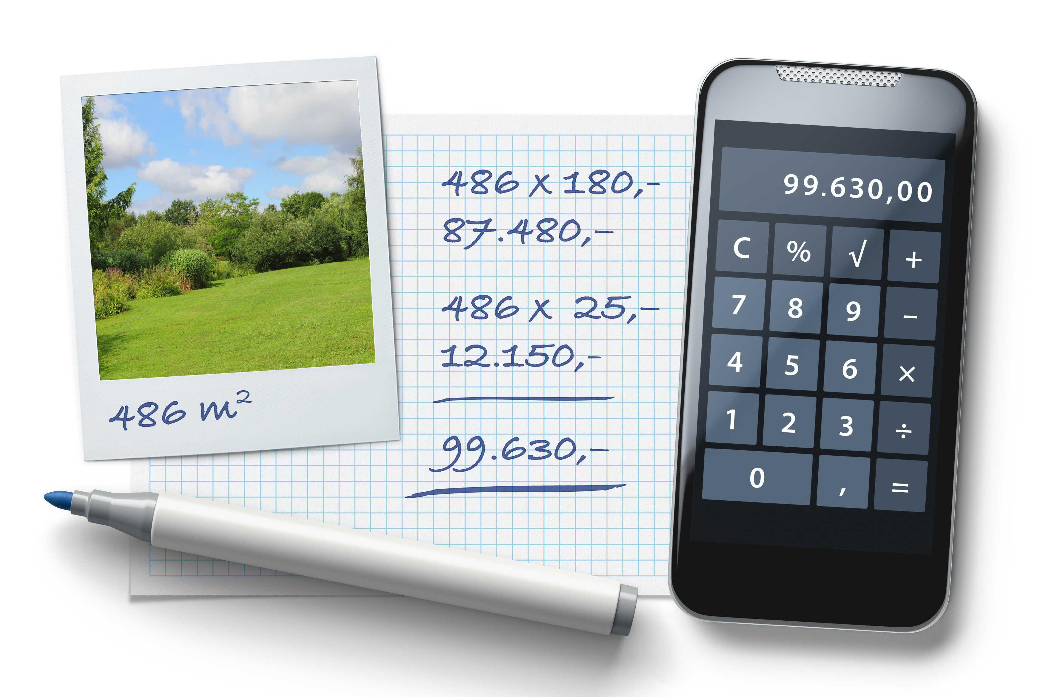 Photo of a property and calculator, figuring out and estimating building costs