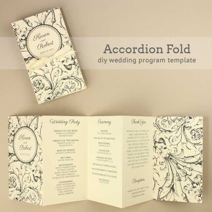 Accordion Folded Wedding Program Template From Boho Weddings