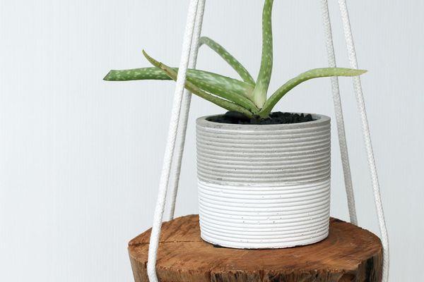 A hanging wood planter