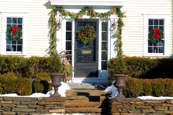 Christmas decorations with greenery