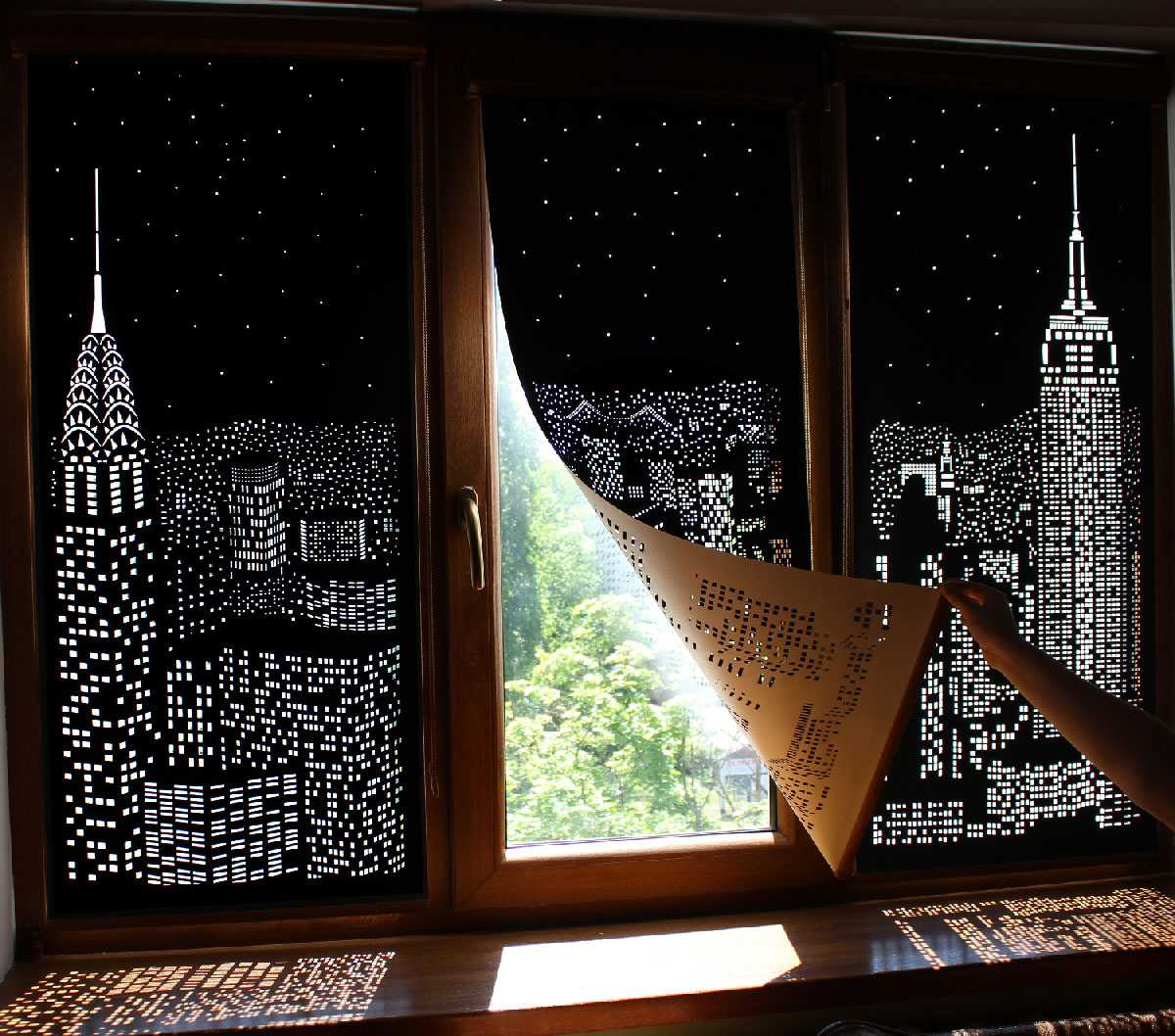 black curtains with cut outs