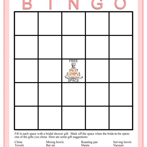 personalized brides a pink and white bridal shower bingo card