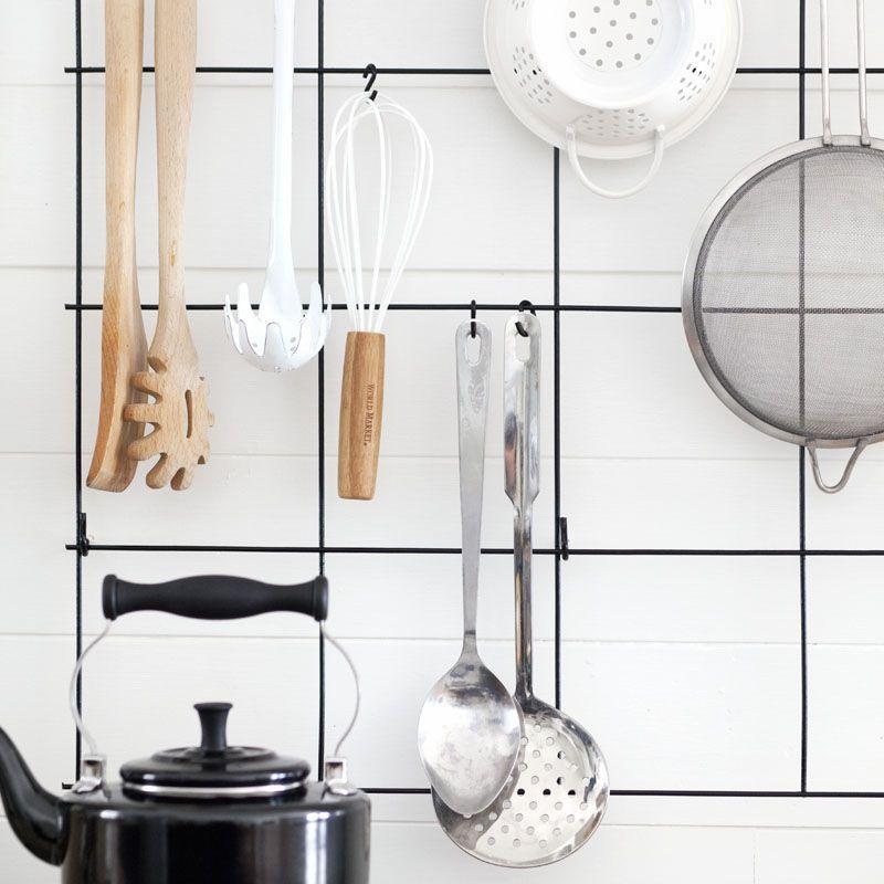 Wire rack in kitchen