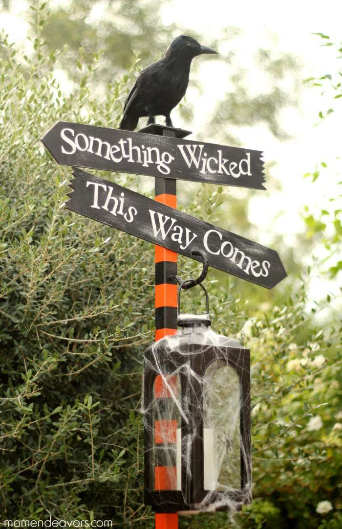 A Halloween signpost in black and orange