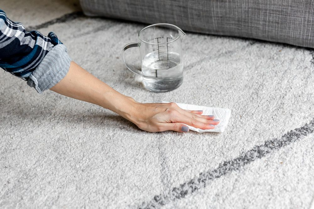 person spot cleaning the carpet
