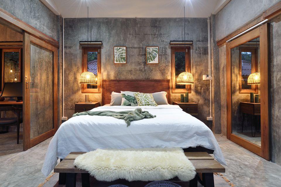 Modern bedroom with sheepskin rug