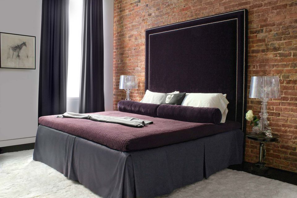 Tall purple headboard