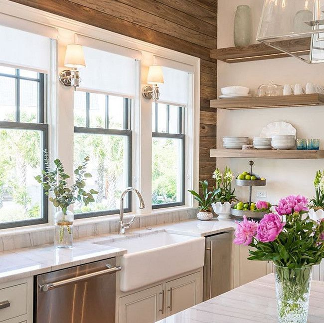 Gray And Natural Wood Kitchen With Walls