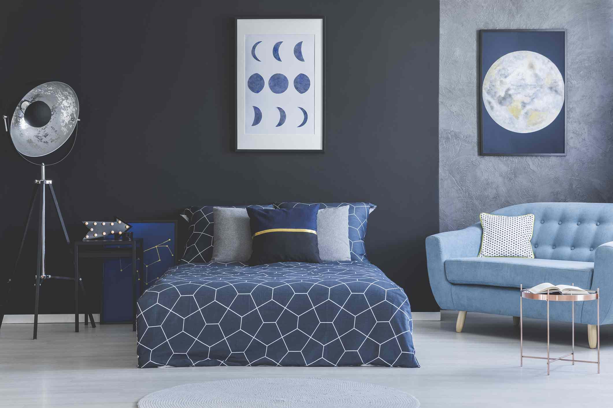 dark blue bedroom with starry motif