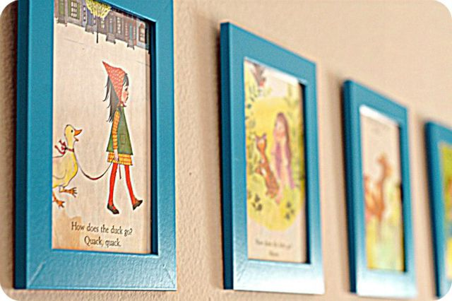 Vintage story book pages in colorful frames make for beautiful nursery art