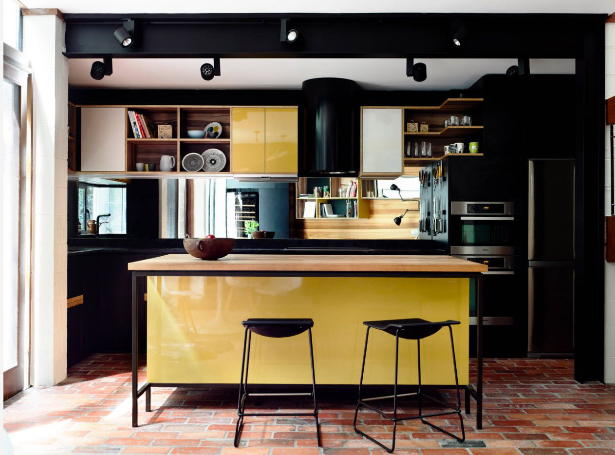 modern yellow and black kitchen