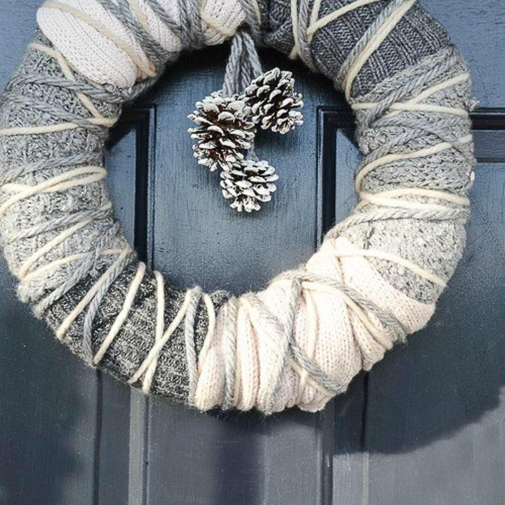 DIY sweater wreath