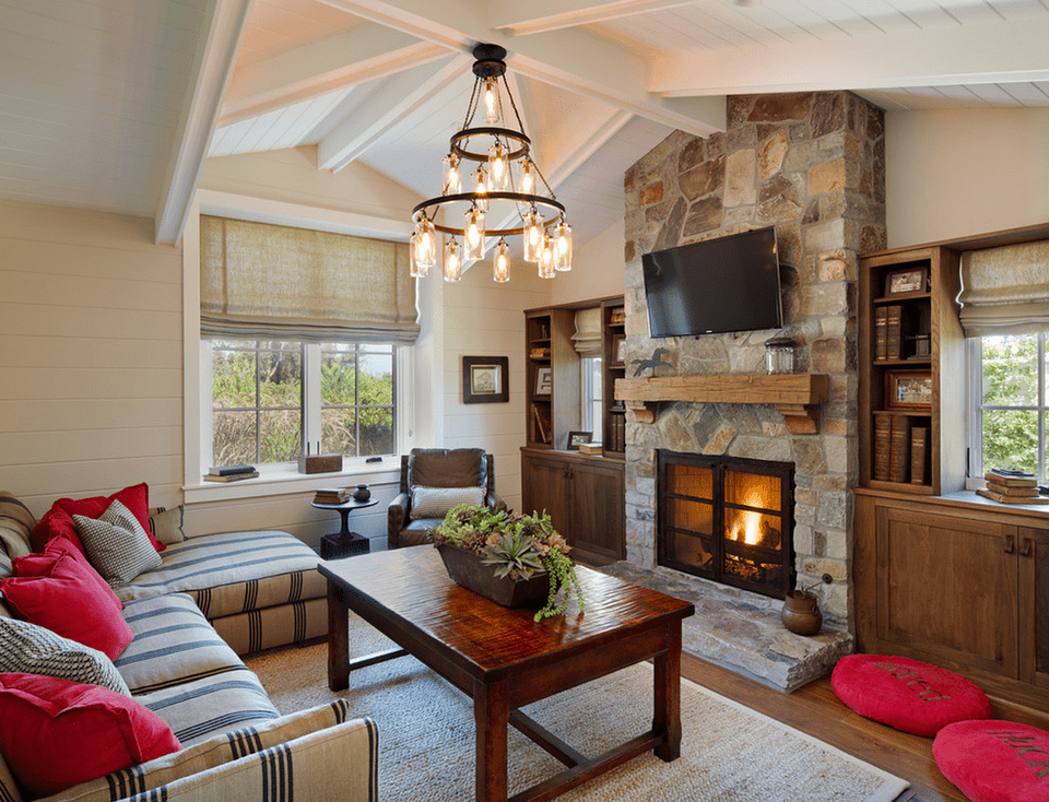 Cottage Style Living Room With Stone Fireplace