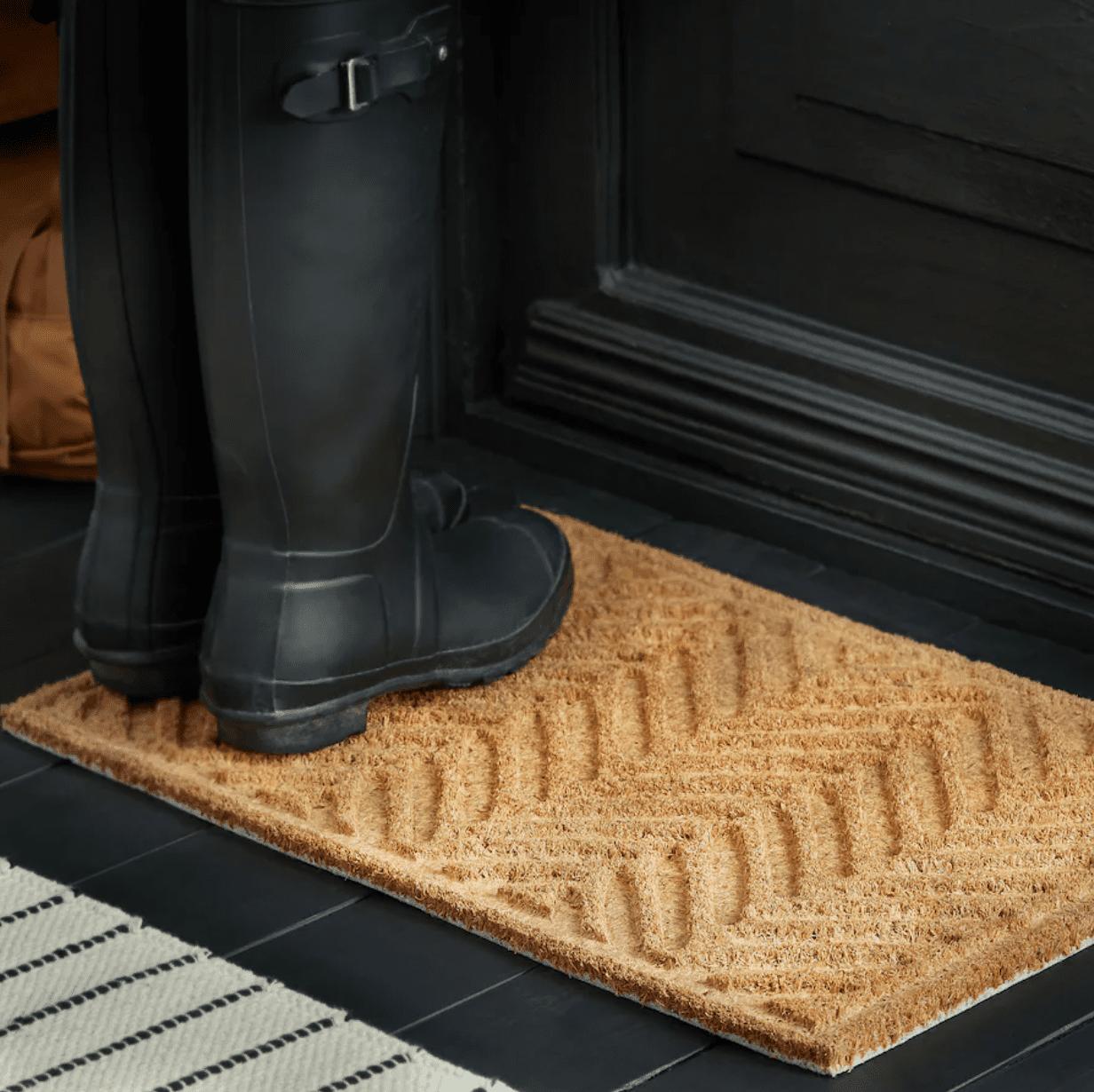 A textured welcome mat