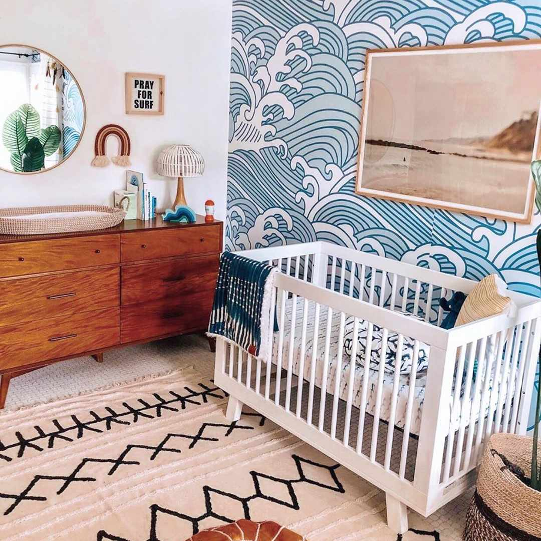 Nursery with waves wallpaper