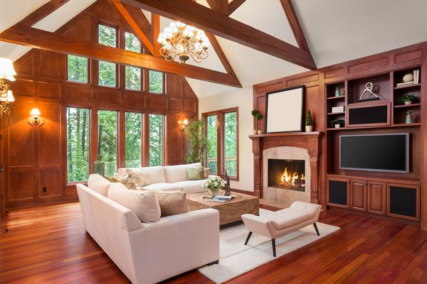 Beautiful living room interior in new luxury home
