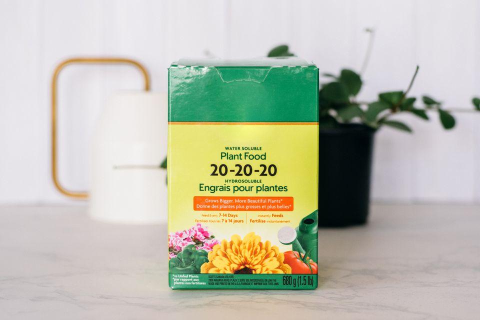NPK ratio on a box of fertilizer