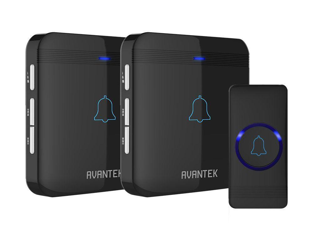 High Volume Waterproof Wireless Doorbell Chime Kit 2 Plug-In Receivers LED Flash
