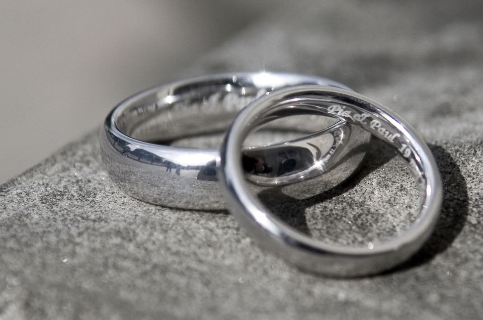 a set of engraved silver rings
