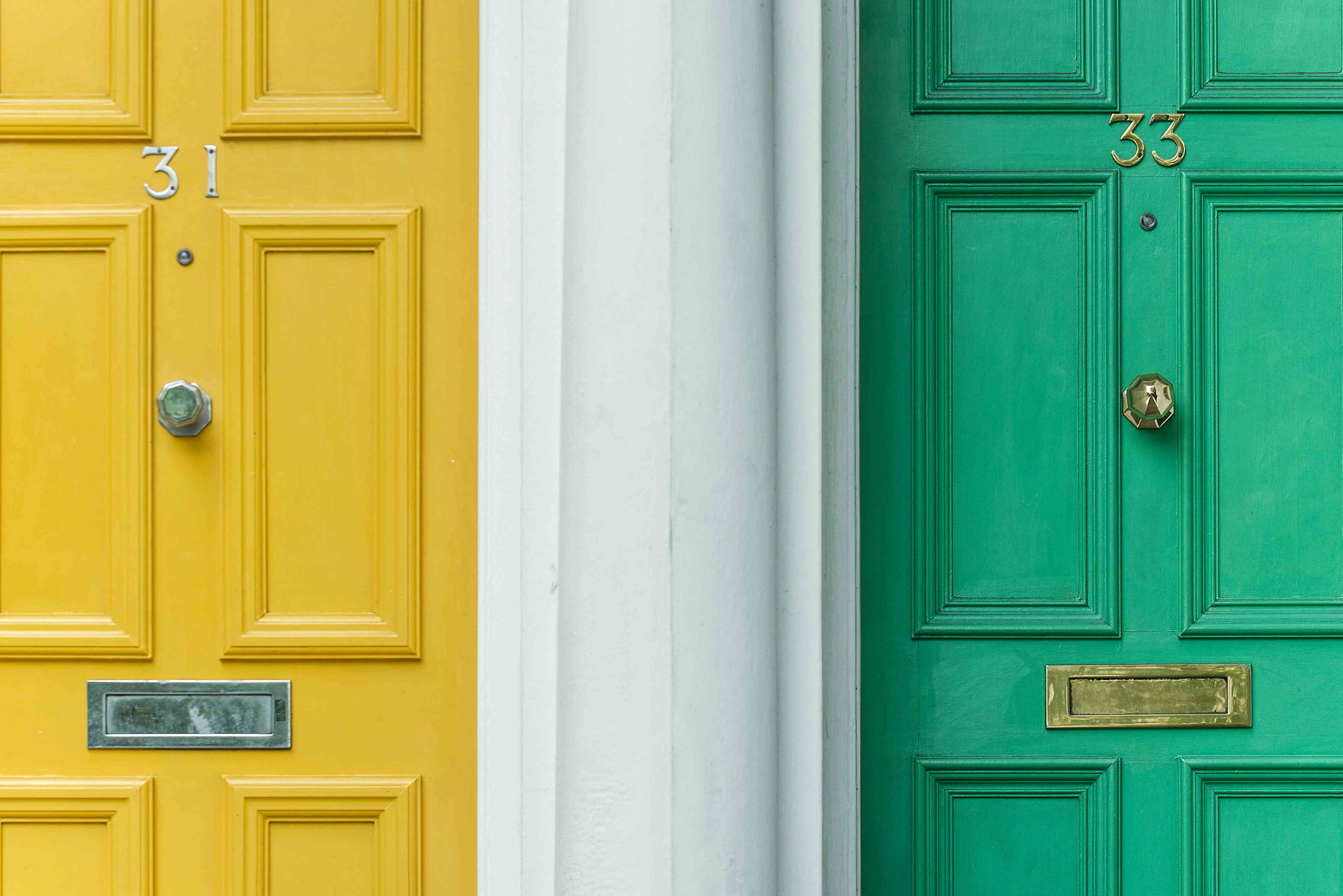 yellow and green painted front doors