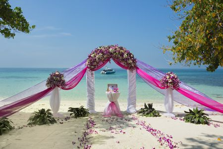 Pink Wedding Flower Altar On The Beach