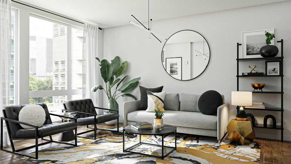 modern living room with black and gray furniture