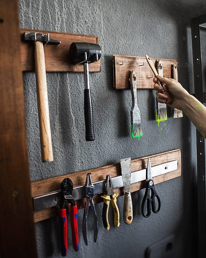 Wooden storage with magnets for tools