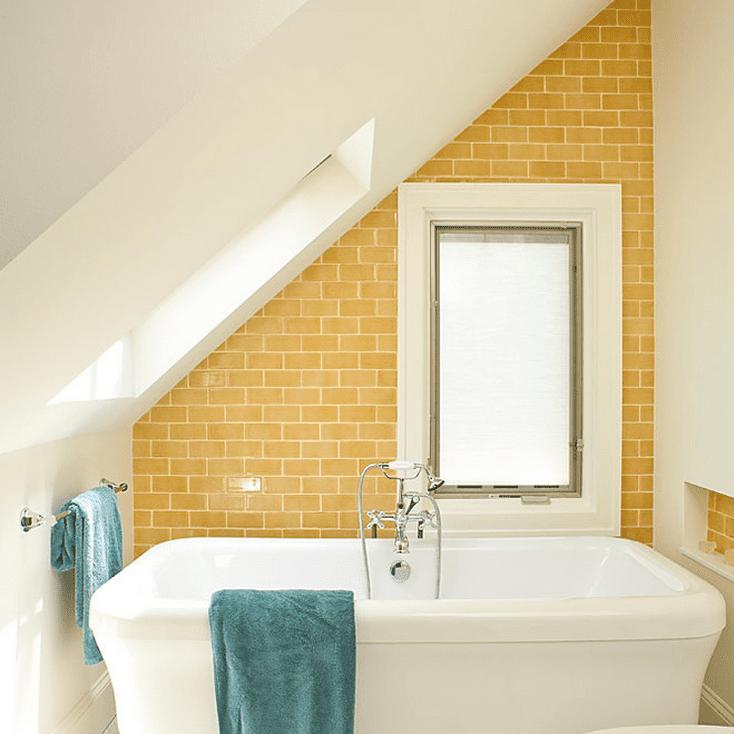 yellow subway tile attic bathrooms