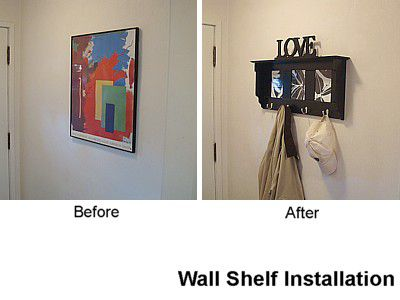 Before and after a wall shelf is installed