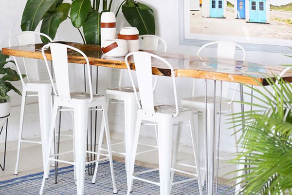 DIY Live Edge Wood Bar Table