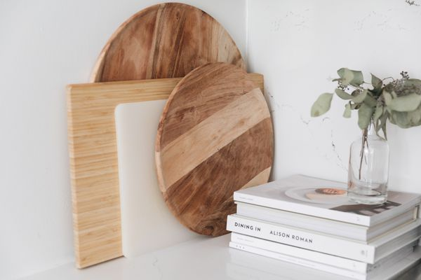 cutting boards on a counter top