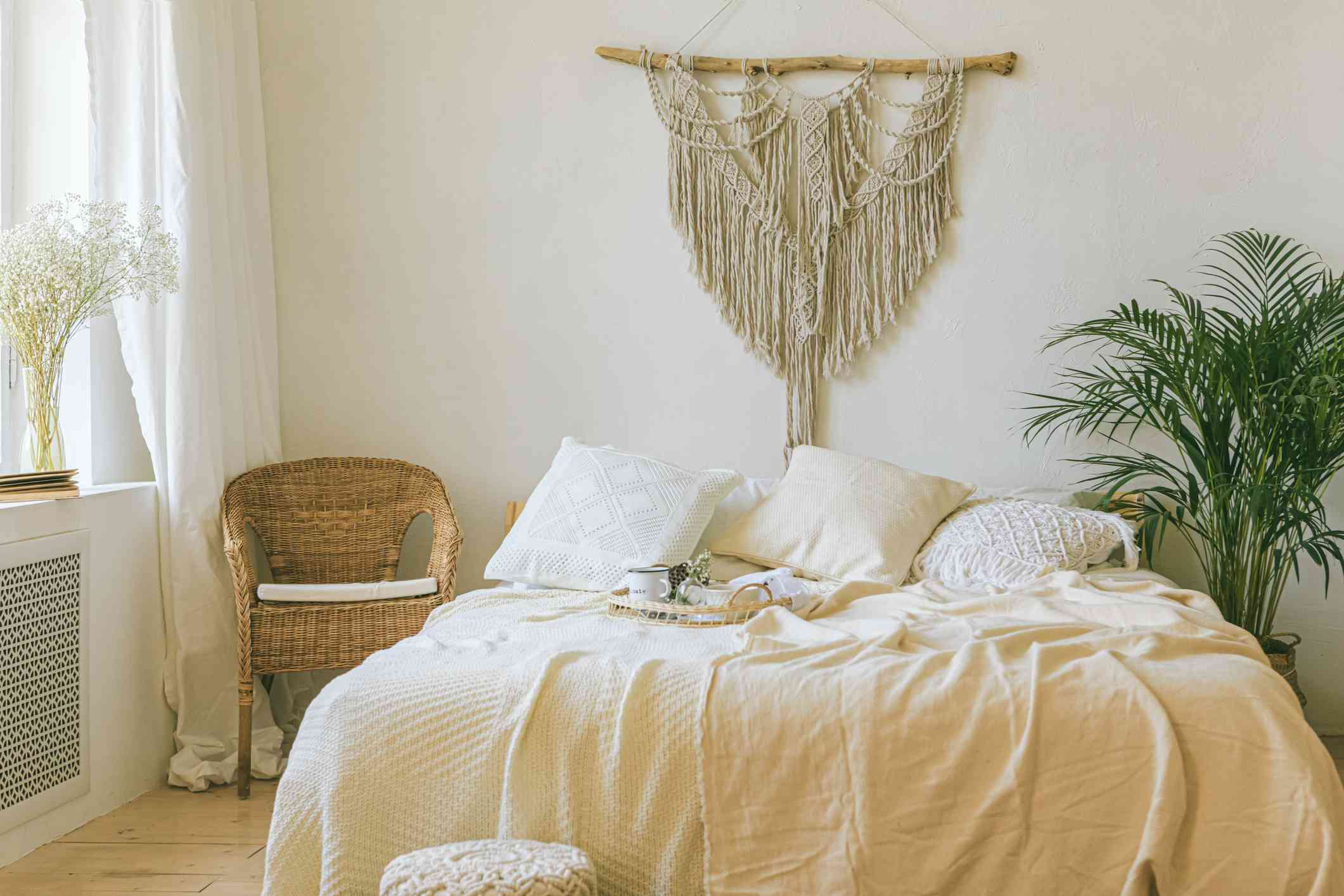 macrame wall hanging in a bedroom