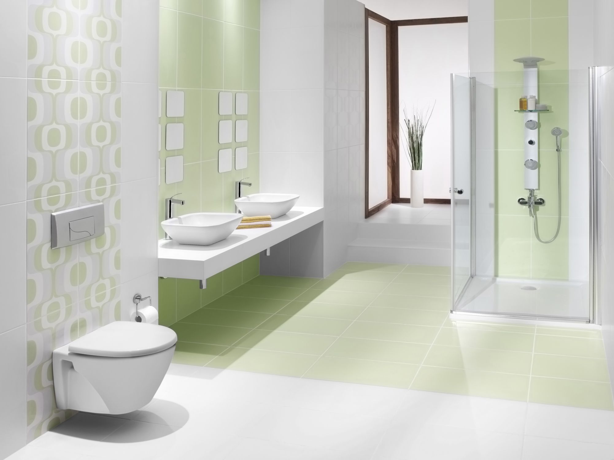 Astounding Bring Green Color To Your Bathroom With Tiles Download Free Architecture Designs Embacsunscenecom