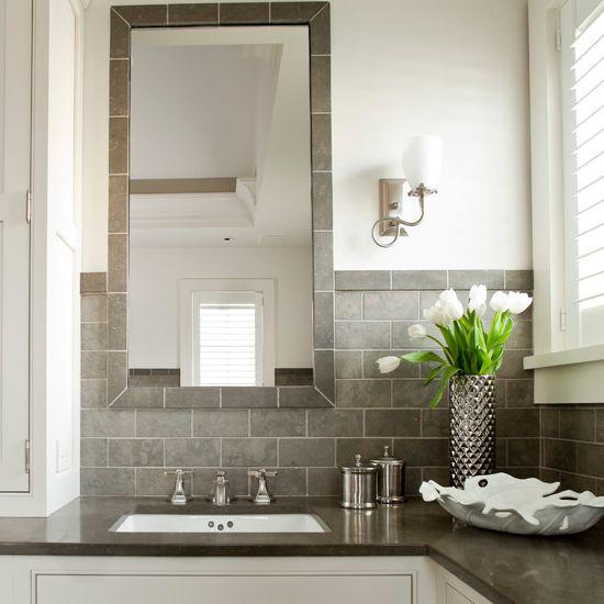 Gray and beige bathroom