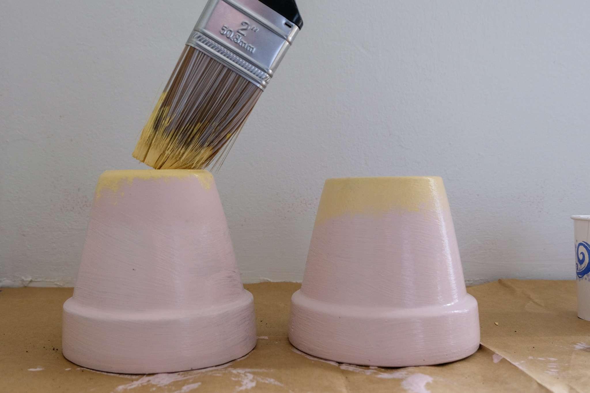 painting a flower pot