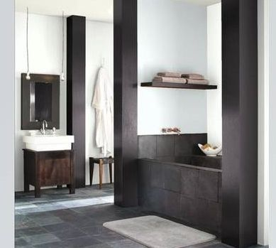 urban master bathroom with slate tile