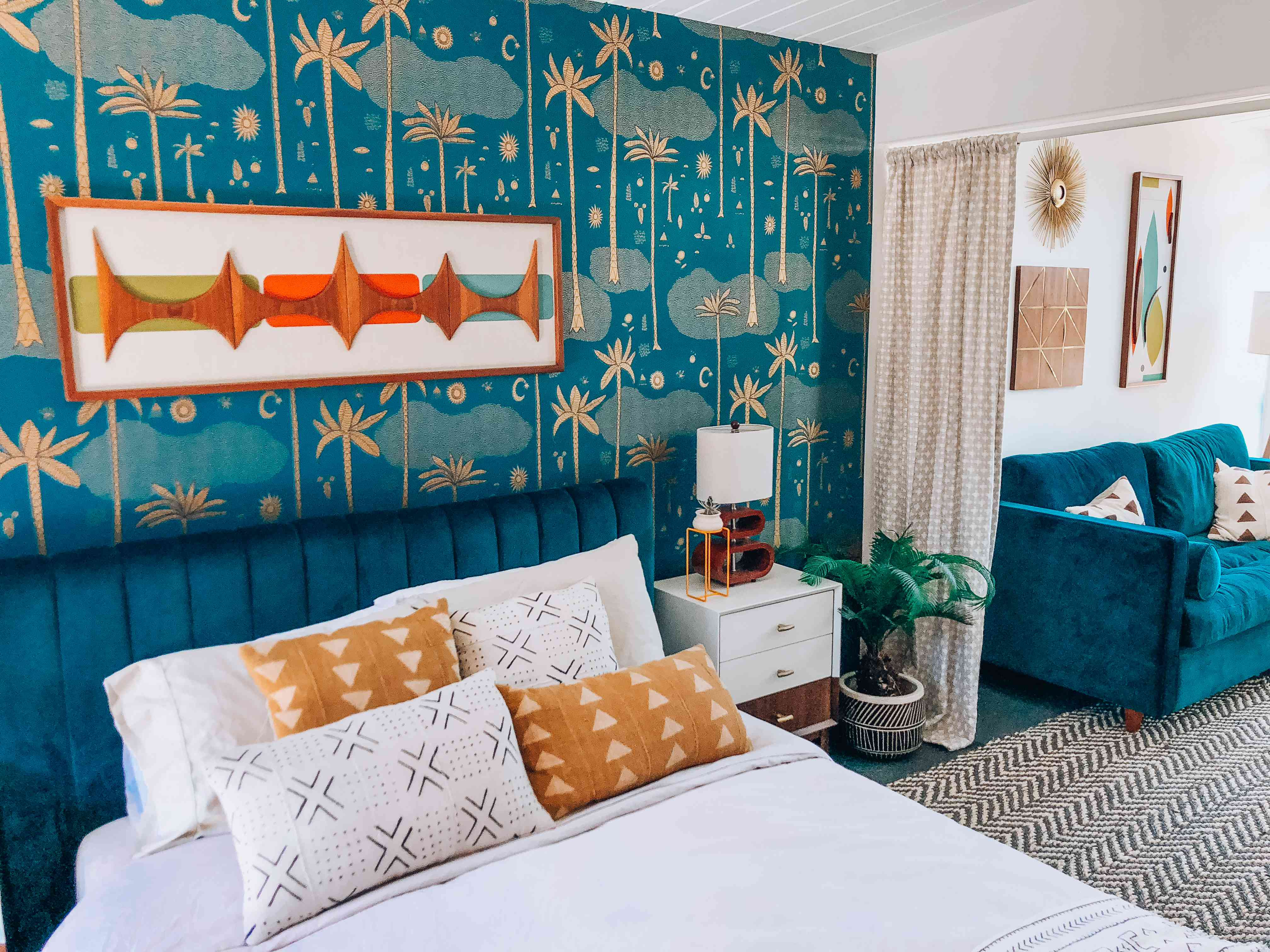 Brown and Turquoise eclectic bedroom