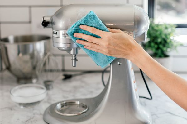 cleaning a stand mixer
