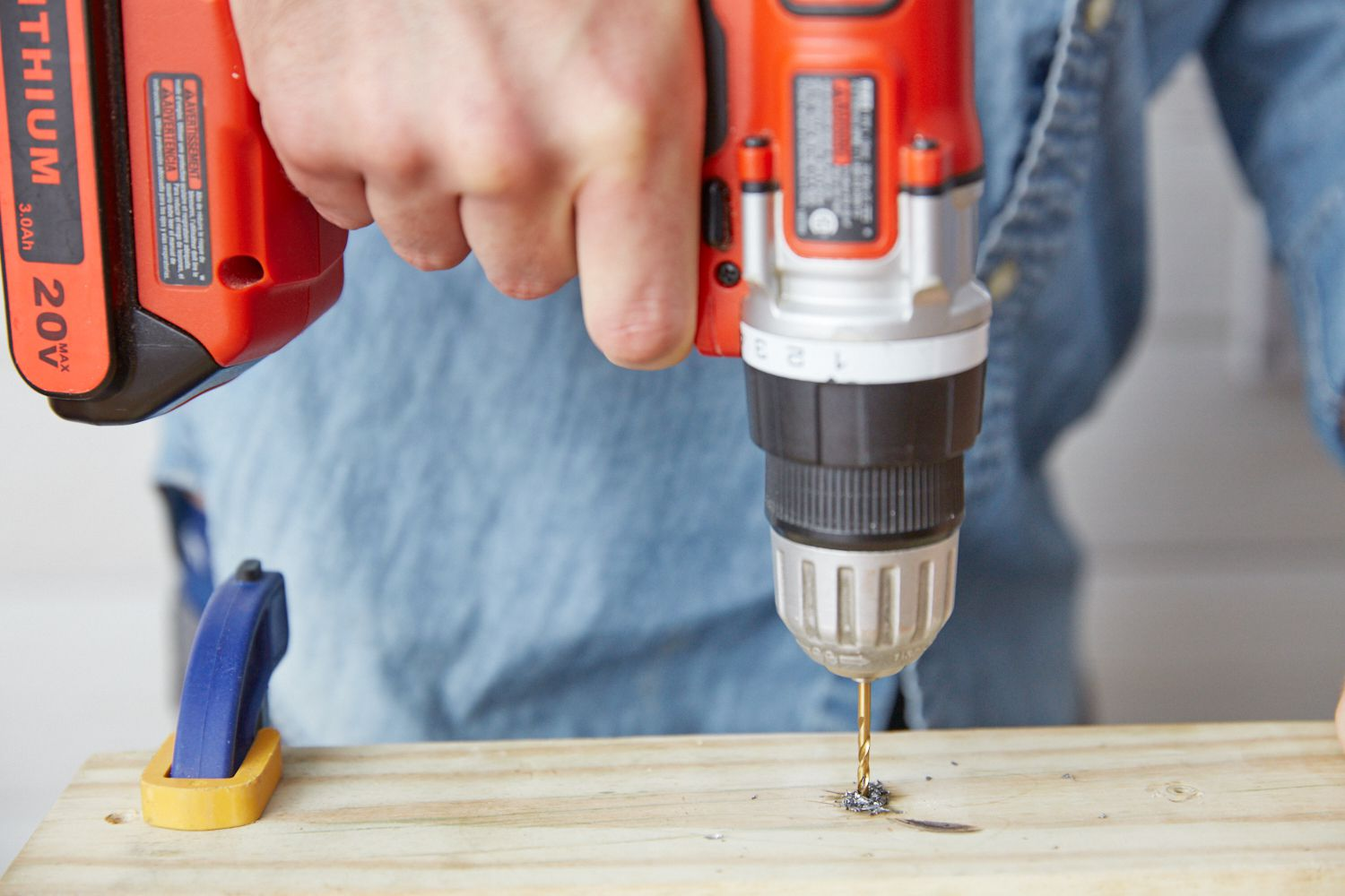 Drilling pilot hole into wood