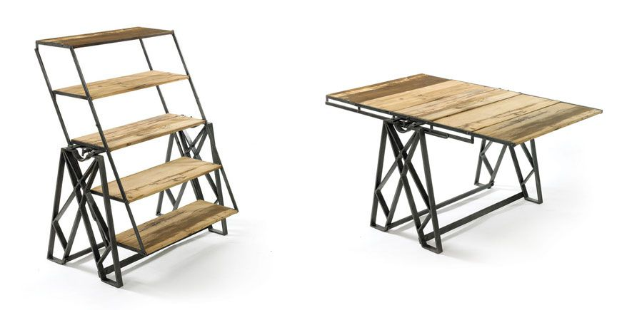 Transforming furniture piece in its shelf form and table form