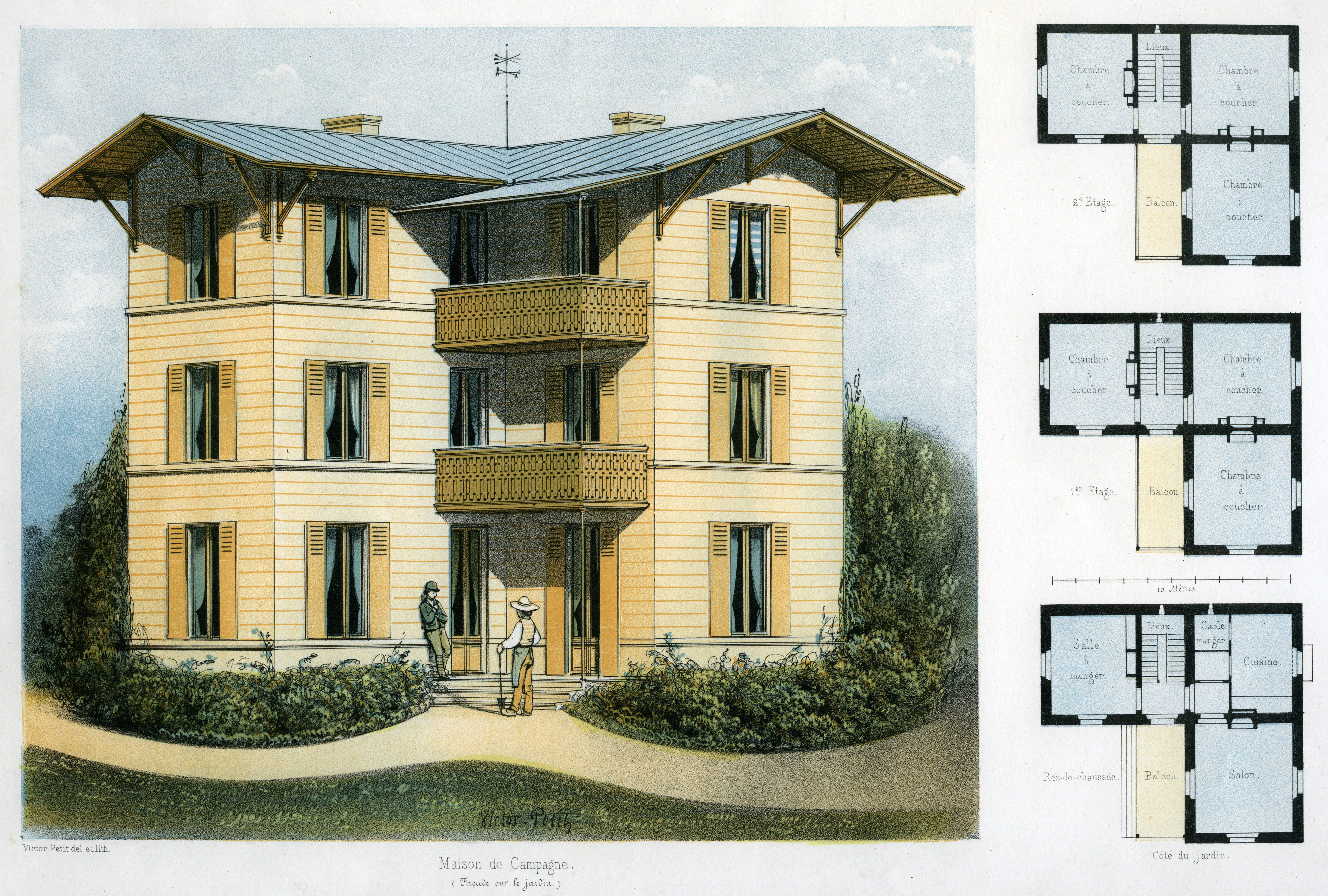 Illustration and floor plans for a three-story country house near Paris, France