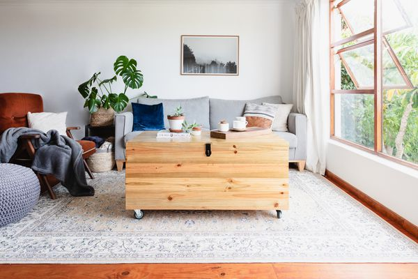 Light colored area rug in decorated living space under wooden trunk with wheels