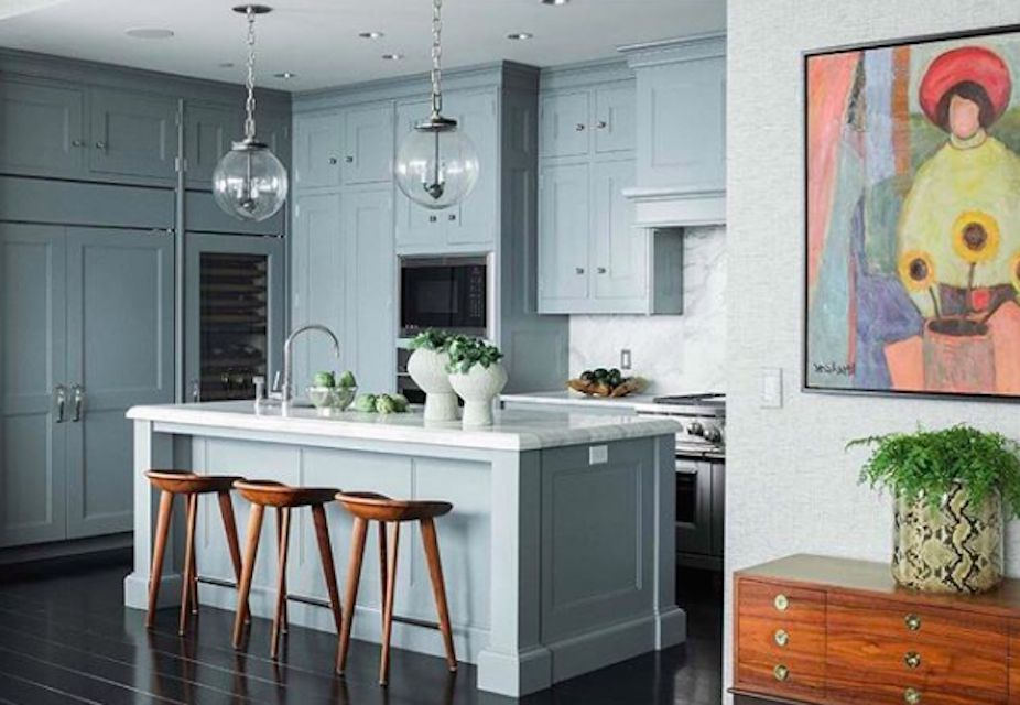 Gray Blue Kitchen With Black Floors