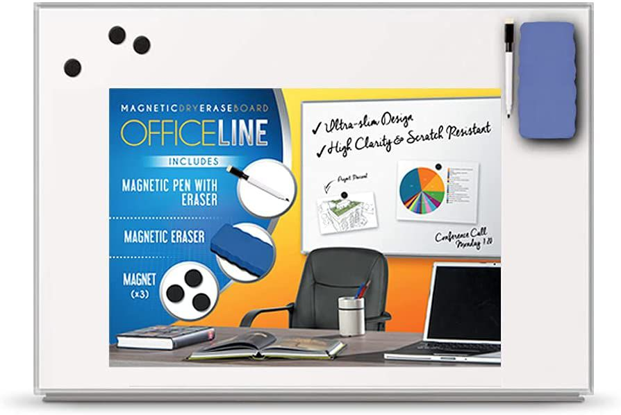 Officeline Ultra-Slim, Lightweight Magnetic Dry Erase Board