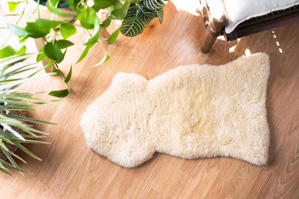 Sheepskin rug on wooden floor surrounded by indoor plants and bed corner
