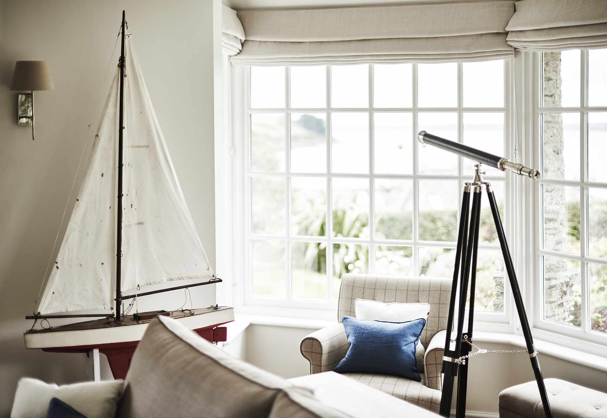 Natural light flooding the living room of Emma Sims-Hilditch's Cornwall cottage