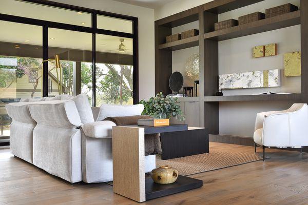 The living room of Austin-based designer Laura Britt of Britt Design Group