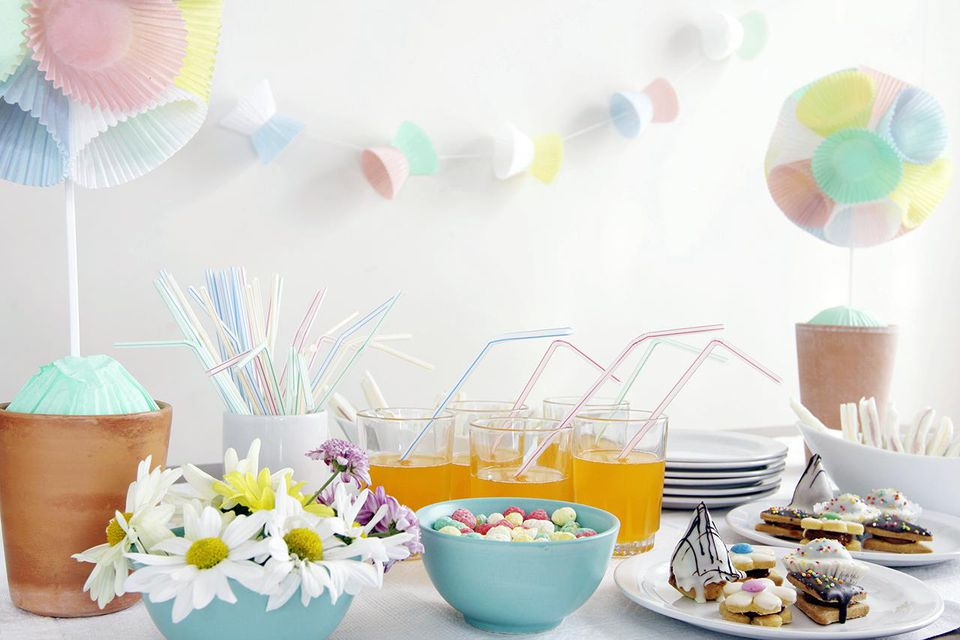 Table setting and colorful decoration for a party