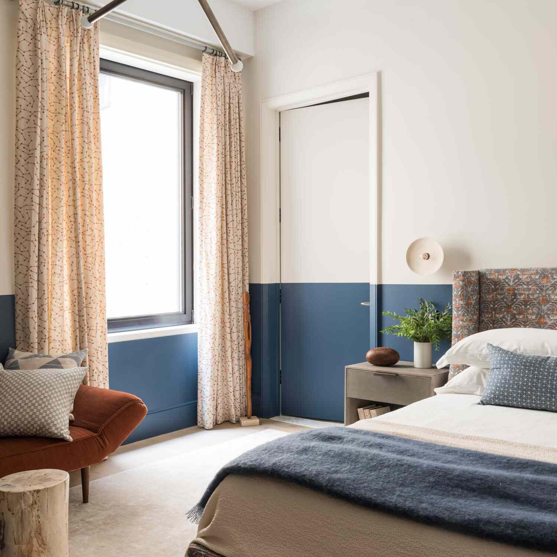 blue and orange modern bedroom