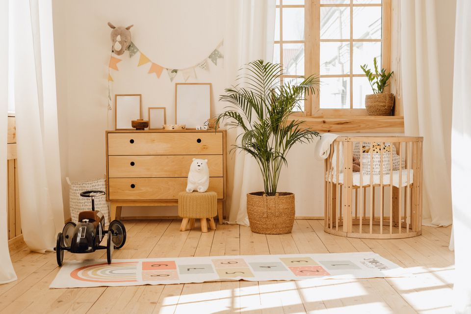 Chalet Baby Bedroom Interior with Cozy Cradle Bed